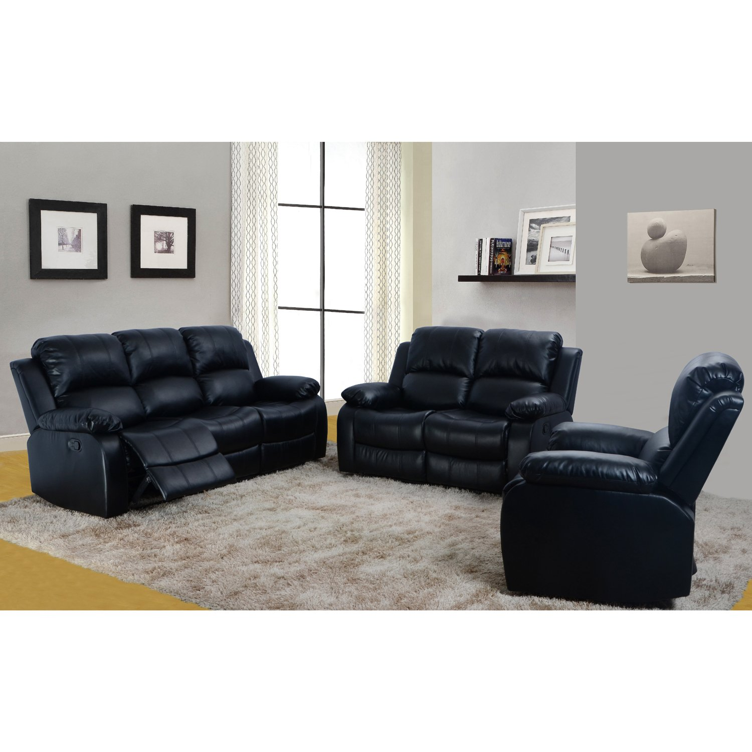 Amazon.com: LifeStyle Bonded Leather Sofa U0026 Loveseat U0026 Chair Set With 5  Recliners, Black, 3 Piece: Kitchen U0026 Dining