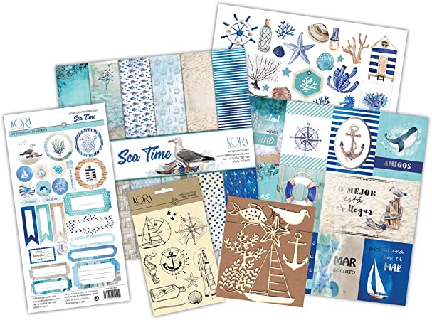 Kit scrapbooking - Sea Time (tarjetas en ESPAÑOL): Amazon.es: Hogar