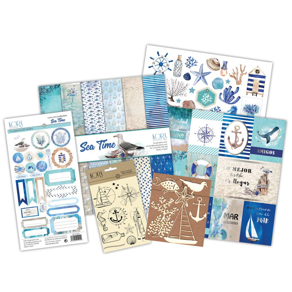 Kit scrapbooking - Sea Time (tarjetas en INGLÉS): Amazon.es: Hogar