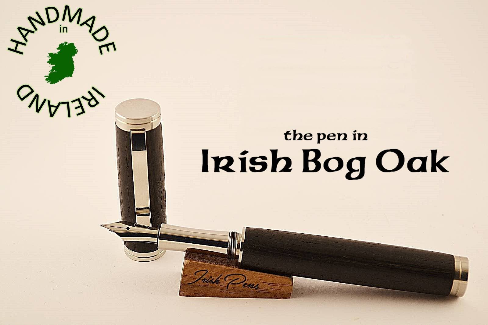 Irish bog oak with 303 Stainless Steel delivering a very contemporary fountain pen with Peter Bock nib as standard FREE Desk stand for the writing connoisseur FREE personal note in the pen case lid
