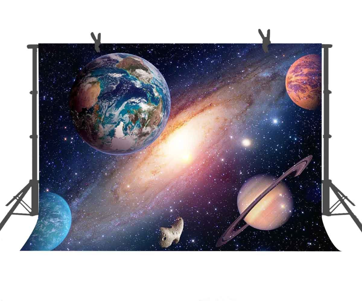 FUERMOR 7x5ft Solar System Backdrop Earth Planet Rotation Photography Background Culture Children Fans Photo Shooting Props LXFU227