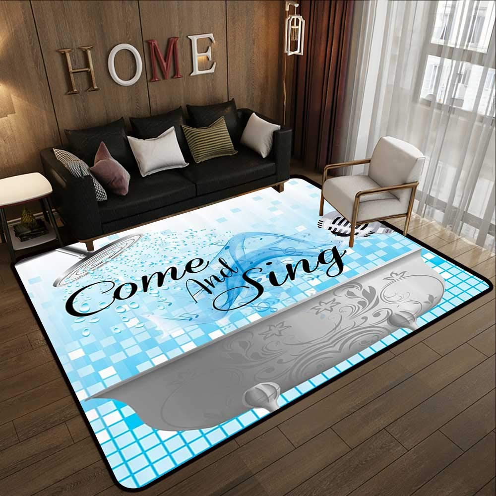 All Weather mats,Funny Sing,Along Inspirational Quotes Come and Sing Singing Fun Musician Gifts for Men Women Music Lover Musical Notes,B 78.7''x 118'' Soft Area Children Baby Playmats
