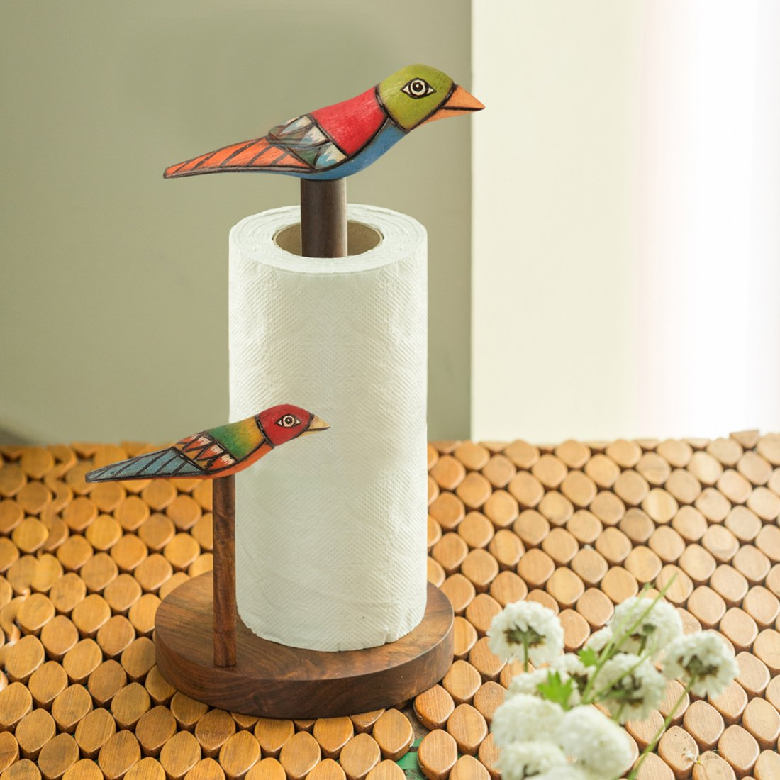 ExclusiveLane Bird Collection Brown Elegant Napkin Holder In Sheesham Wood -Napkin Rings Holder For Kitchen Table Tissue Paper Holder Stand For Table Top