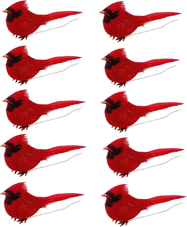 Kgjsdf - Juego de 10 adornos de cardenales rojos con clip, terciopelo rojo realista y pájaros de plumas para decoración de árbol de Navidad, artes y manualidades