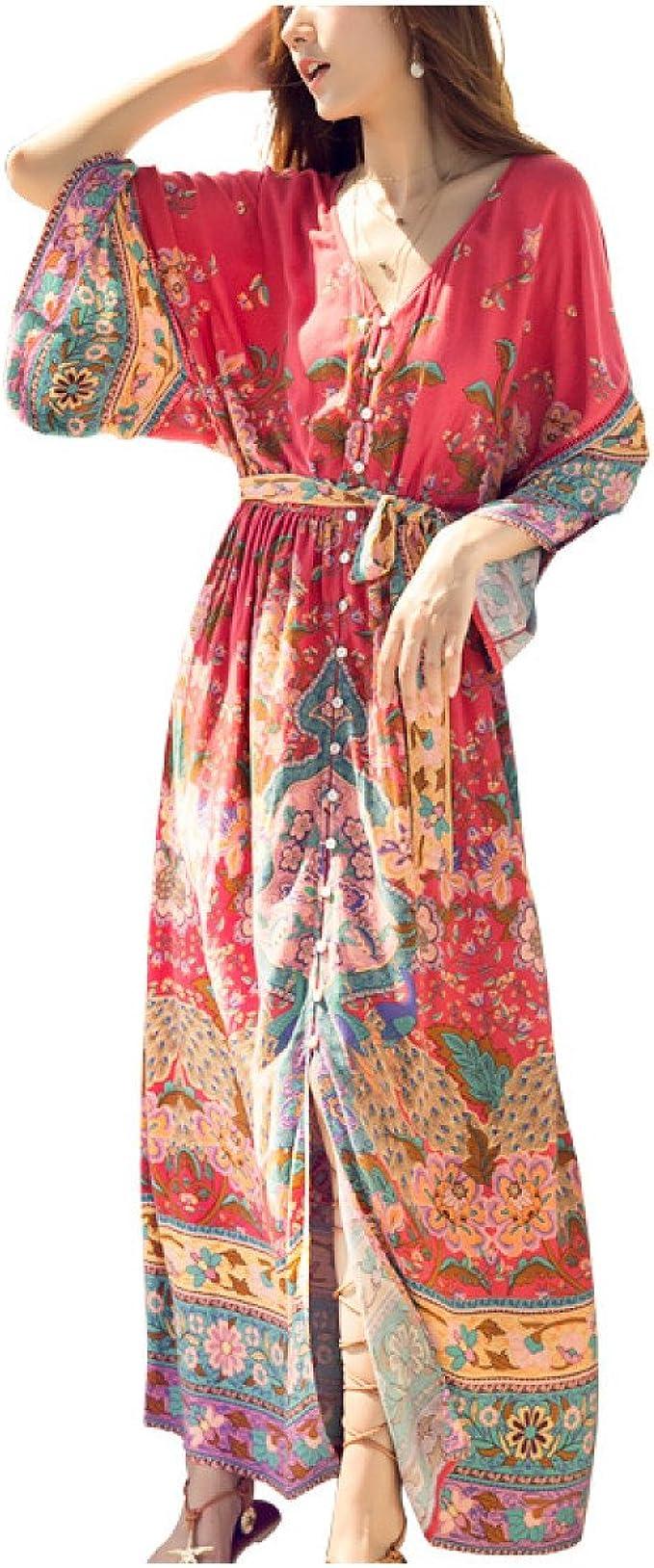 GHZGF Vestido Bohemio De Las Mujeres Cintura del Cordón con Cuello ...