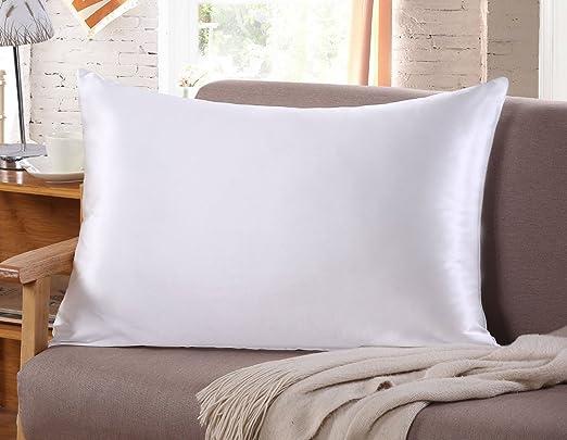 Funda de almohada de seda para pelo y rostro, para prevenir las arrugas, cremallera oculta, 1 pieza, color blanco, Blanco, 51*75CM