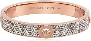 Michael Kors Rose Gold Tone Pave Fulton Hinge Bangle Bracelet