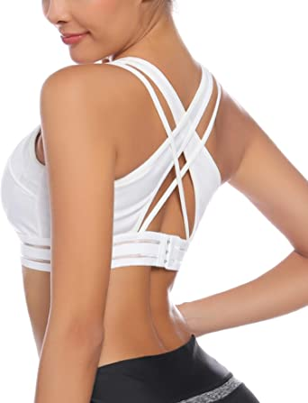 Aibrou Womens Sports Bras Beauty Back Padded Yoga Bras for Workout