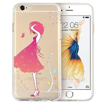 ESR iPhone 6S Plus/iPhone 6 Plus Funda, Transparente Suave Carcasa de TPU con diseño de patrón para 5,5 Pulgadas iPhone 6S Plus/6 Plus (Flores niña)