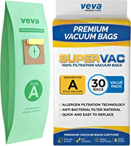 VEVA 30 Pack Premium SuperVac Vacuum Bags Style A Work with Hoover Type A Upright Vacuum Cleaner, Model 4010001A