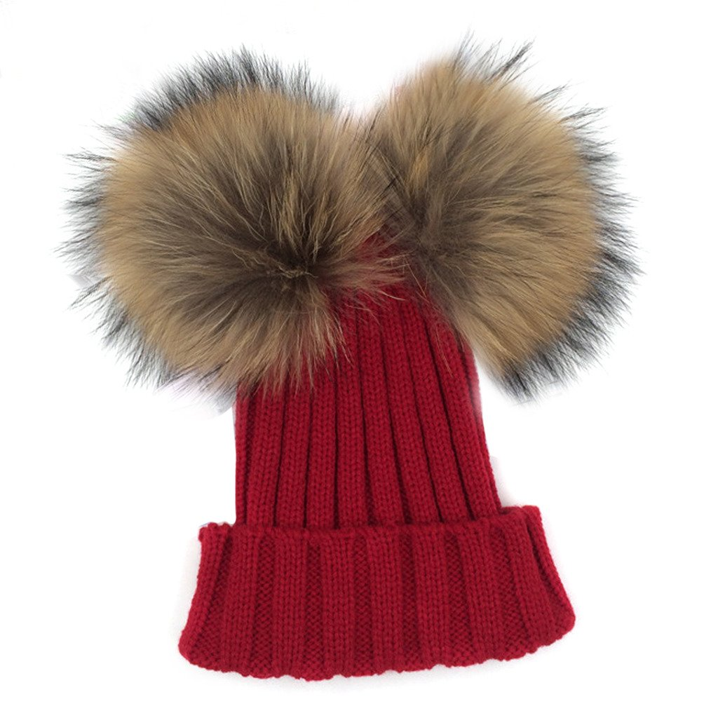 MIOIM Little Girls Wool Knit Hat Raccoon Fur Double Ball Pompom Bobble Ski Cap Sea00028BK