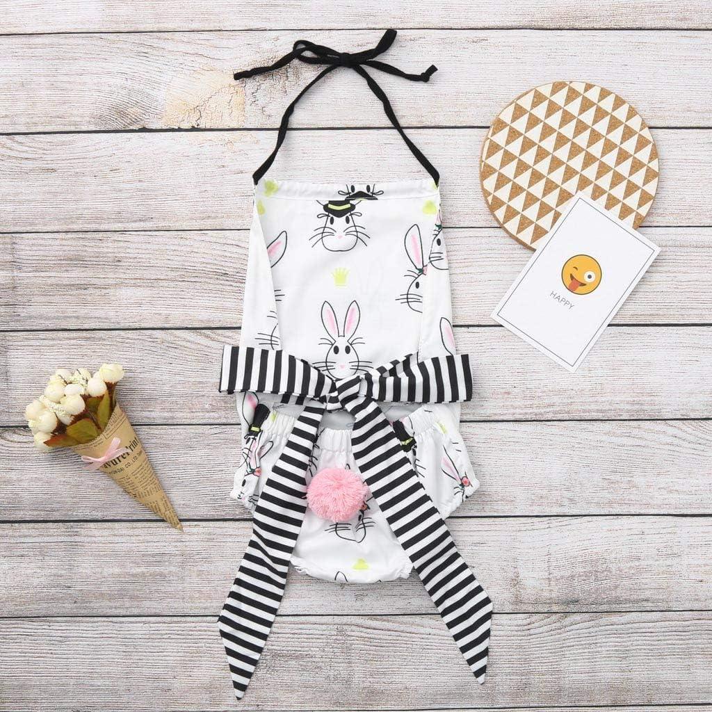 MOGOV Summer Newborn Baby Girl Easter Bunny Backless Bandage Striped Bowknot Romper Bodysuit Clothes