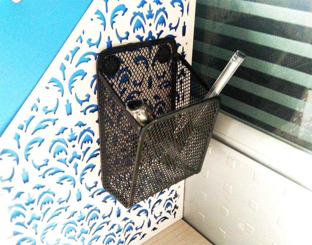 Frjjthchy Strong Magnetic Pencil Holder Square Metal Mesh Storage Basket (Black)