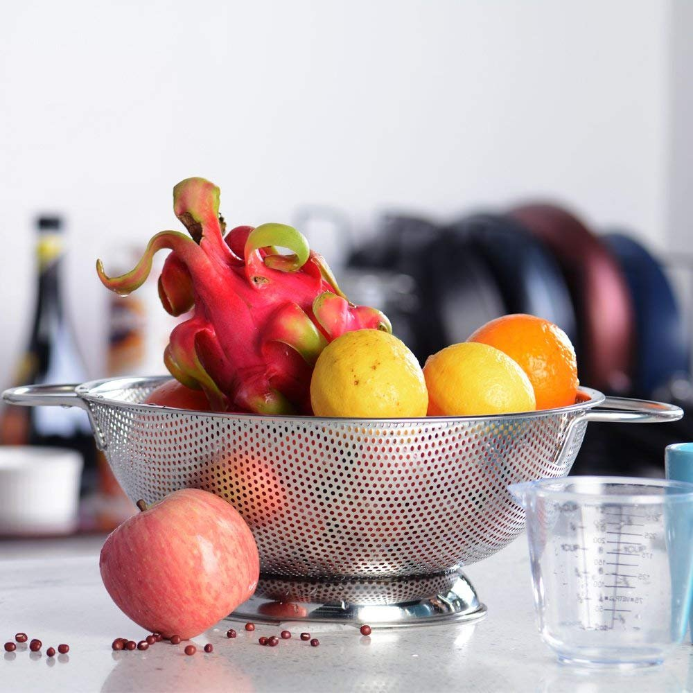 ZESPROKA Stainless Steel Micro-perforated 5-Quart Colander Strainer - With Solid Handles and Stable Draining Ring Base - Ideal for Pasta, Beans, Noodles, Vegetables & Fruits by ZESPROKA (Image #7)