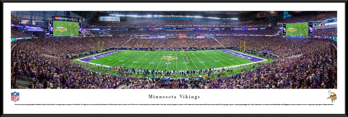MN Vikings - 1st Game at US Bank Stadium - Blakeway Panoramas NFL Posters with Standard Frame by Blakeway Worldwide Panoramas, Inc.
