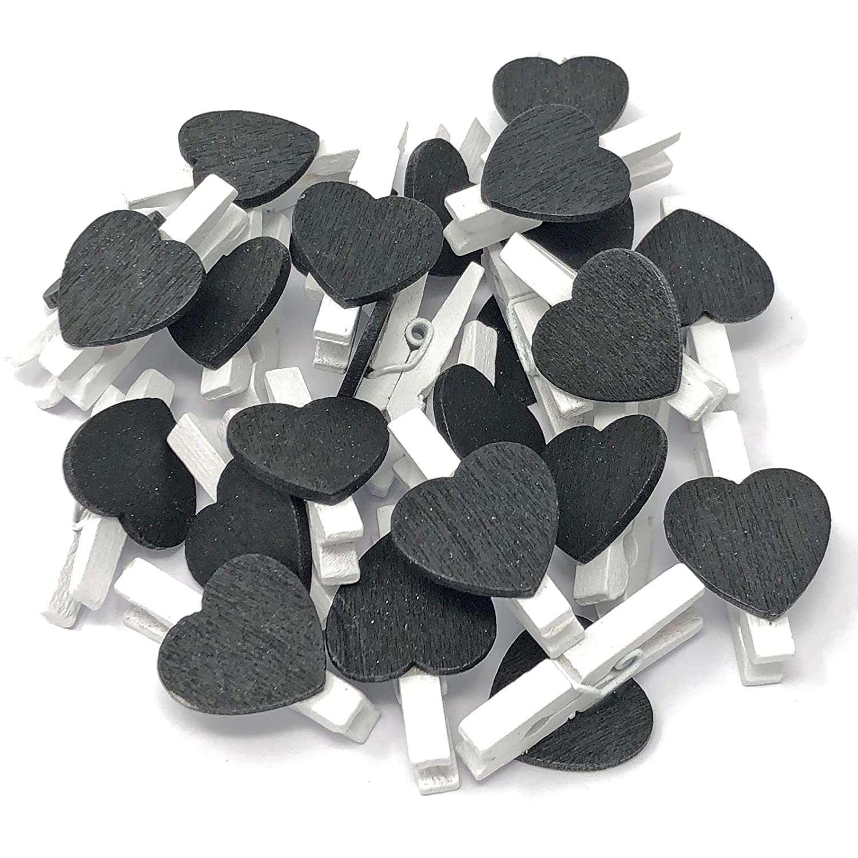 10Stück 30mm weiß Wäscheklammer mit 15mm schwarz Herz Craft für Shabby Chic Vintage Hochzeit