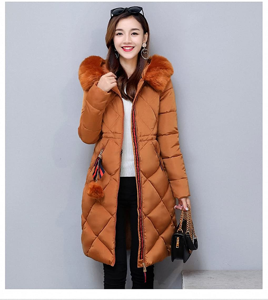 Womens Parka Big Fur Thickened Parka Stitching Slim Long