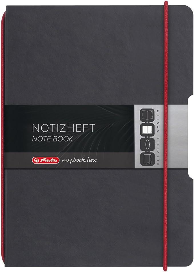 40 fogli Taccuino a quadretti my.book flex Herlitz con elastico di chiusura colore: Nero copertina intercambiabile in tessuto formato A5