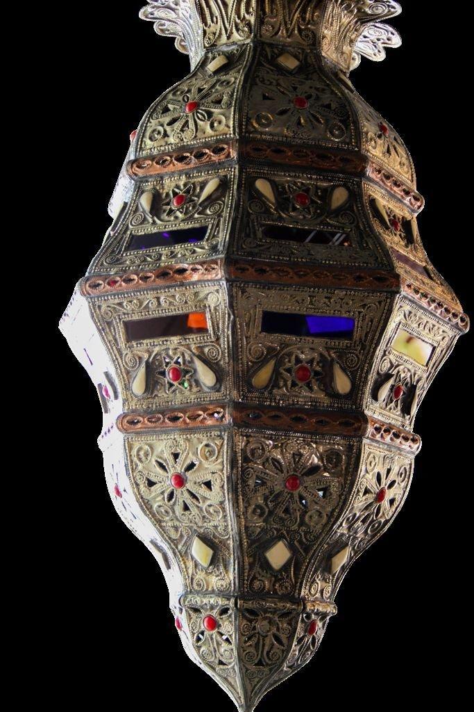 Moroccan Hanging Pendant Lantern in Camel Bone & Carved Embossed Metal Tin Lamp