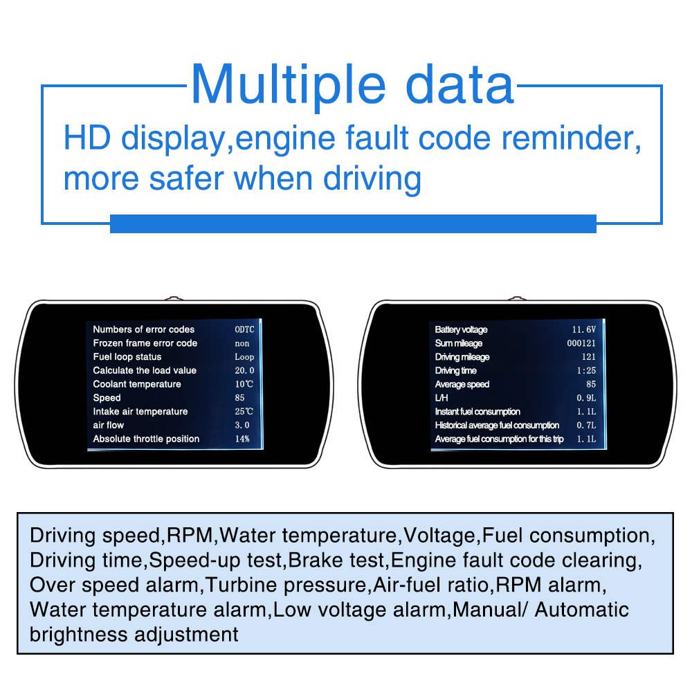 Arpenkin Car Head Up Display HUD P12 3 Inch OBD2 Over Speed Alarm LED Screen Projector Digital Speedometer Display Fuel Consumption Temperature Mileage Gauge Diagnostic Car On-Board Computer