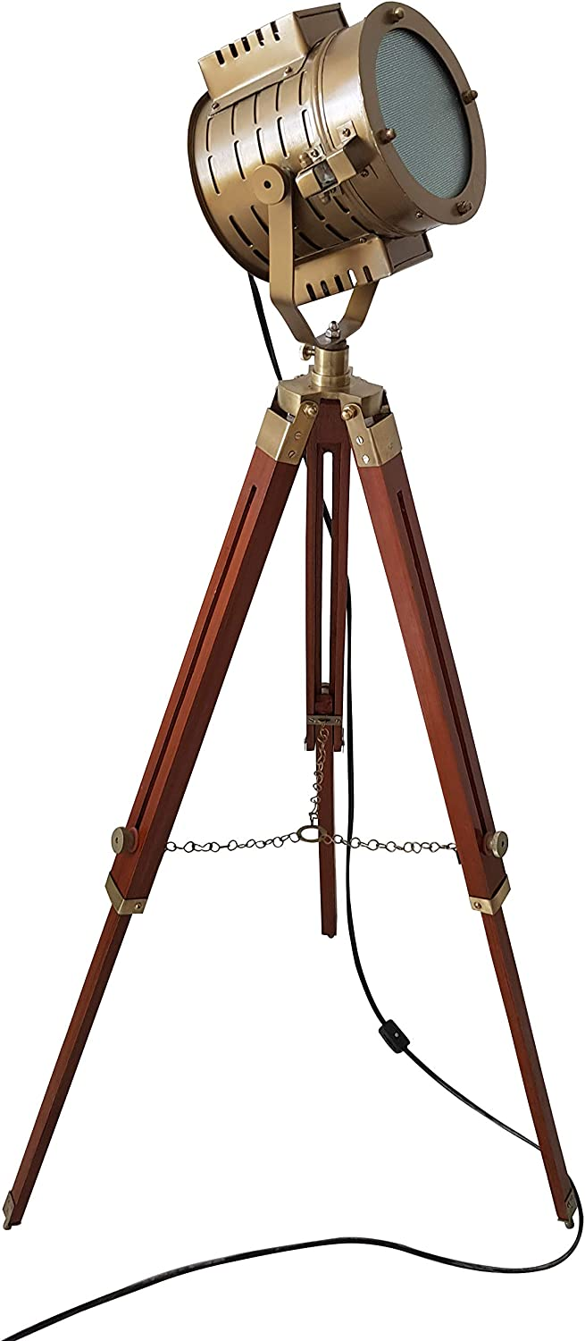 Antique Finish Floor Standing Brass Searchlight with Adjustable Tripod Studio LED Floor Lamp Home Decor