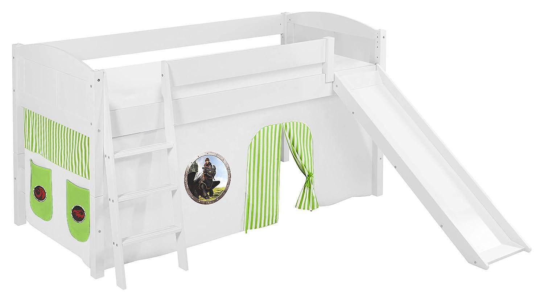 Lilokids Spielbett IDA 4106 Dragons Grün - Teilbares Systemhochbett weiß - mit Rutsche und Vorhang