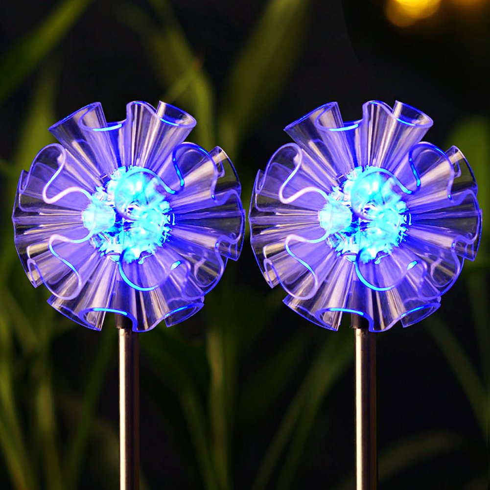 Bright Zeal [Set of 2 Dandelions] LED Color Changing Solar Stake Lights  Outdoor Yard Art - Solar Light LED Garden Decor Garden Statues B0749JHTS3 -  Patio ...