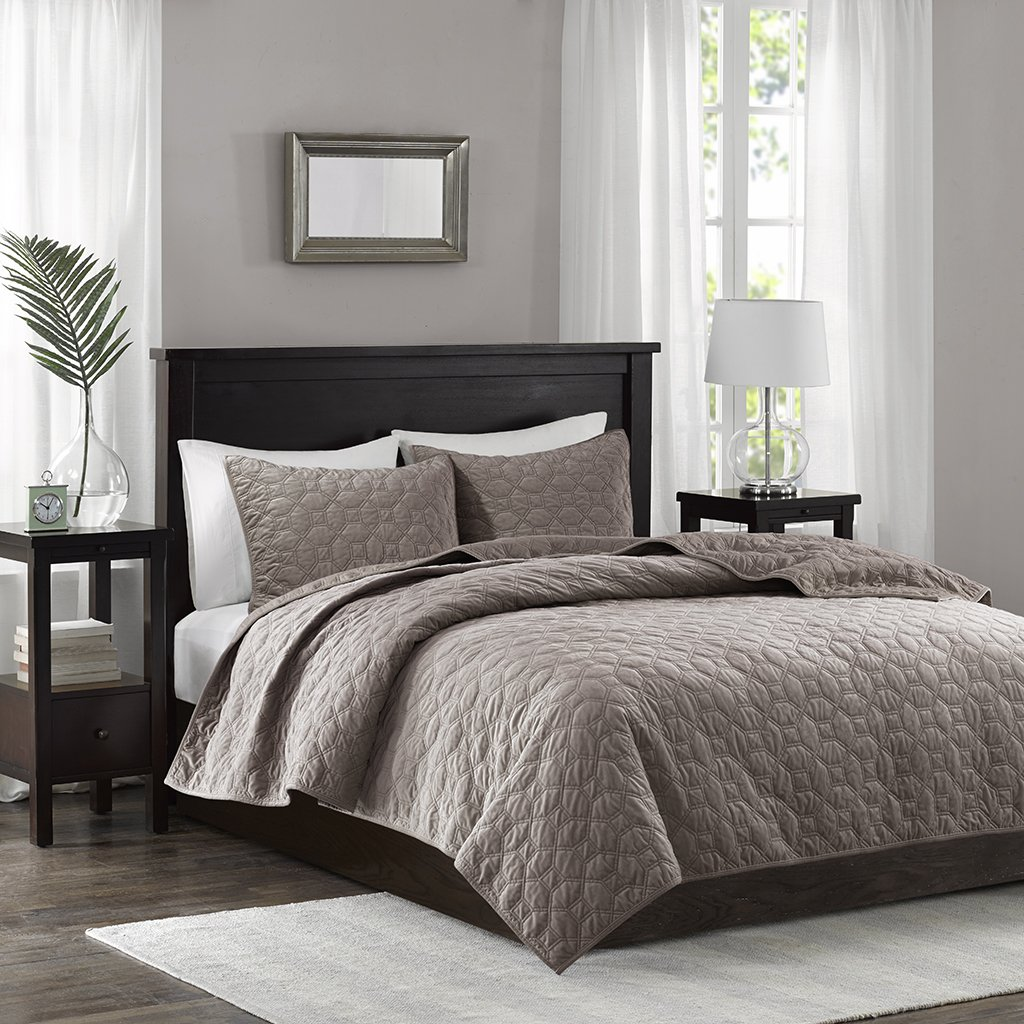 Harper Velvet 3 Piece Coverlet Set Taupe King/Cal King