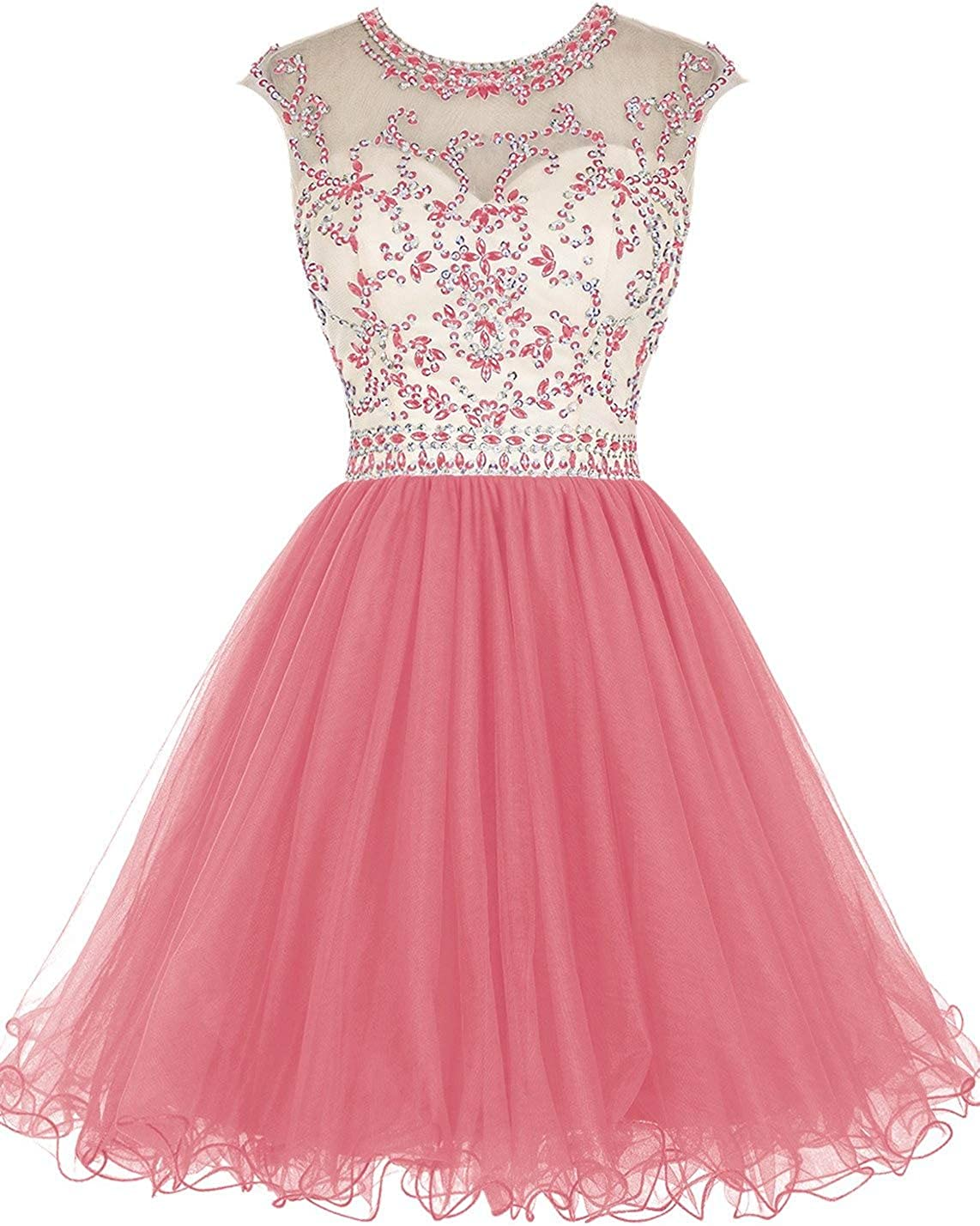 Jingliz Beaded Top Homecoming Dress Short Tulle Hollow Back Prom Cocktail Dresses