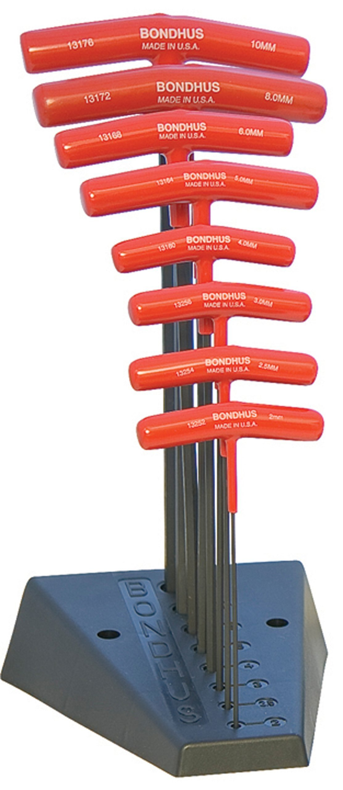 Bondhus 15389 Set of 8 Hex T-Handles with Stand, 9'' Length, Sizes 2-10mm by Bondhus