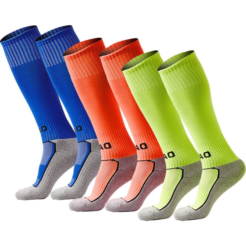 Quickshark Kids Soccer Socks/Youth Knee High Tube Socks/Boy Girl Towel Bottom Football Sport Long Socks(3 Pack-Blue+Orange+Fluorescent Green) by Quickshark