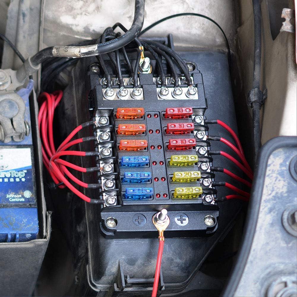 12-Fach Sicherungshalter 12V 24V KFZ LKW BOOT PKW Sicherungskasten