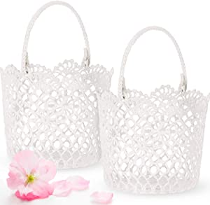 2 Pieces White Basket Handle Wedding Flower Girl Baskets, 5.90 x 4.72 x 4.33 Inch (Classic Style)