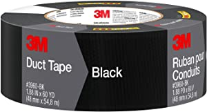3M Black Duct Tape, 3960-BK, 1.88 Inches by 60 Yards