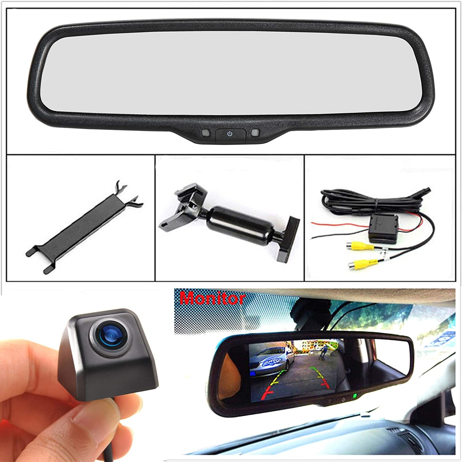 Eway Mini Universal Backup Camera /& 4.3 Rear View Mirror Monitor Kit Waterproof Night Vision 170/°Angle for Car RV Pickup Truck Trailer Van for Ford F150 2004-2014 F250//350 2008-2015 Lux
