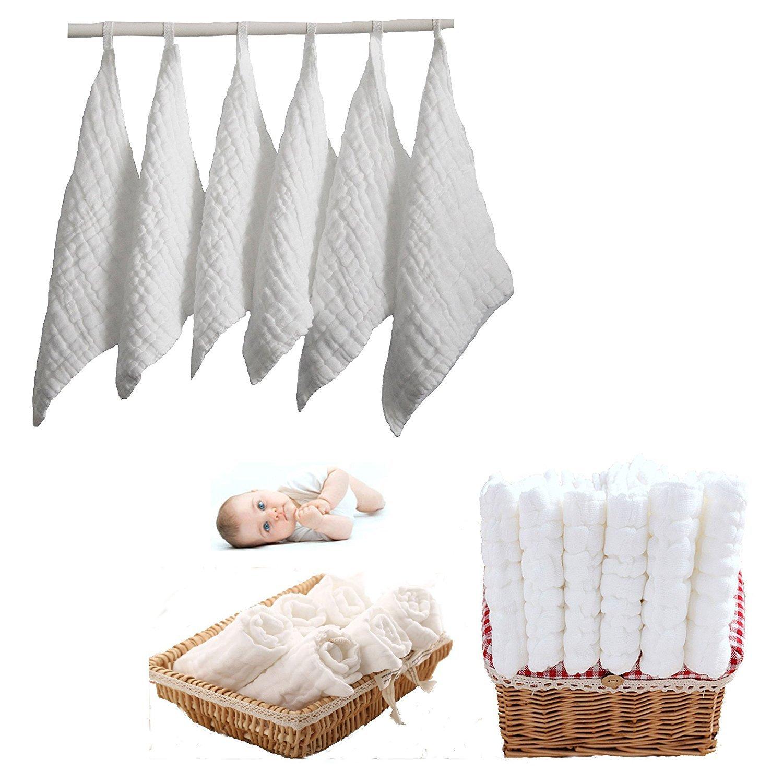 Babyt/ücher Hydrophilic Handt/ücher Wei/ß Itian 6 St/ücke Baby Baumwolle Handtuch Quadratisch 30 * 30cm