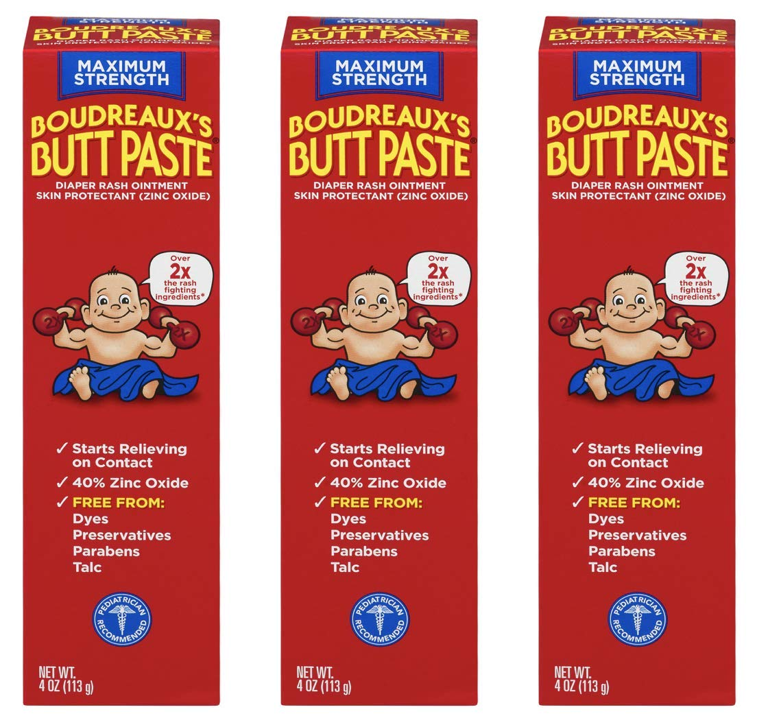 Boudreaux's Butt Paste Diaper Rash Ointment | Maximum Strength | 4 Ounce | Pack of 3 by Boudreaux's Butt Paste