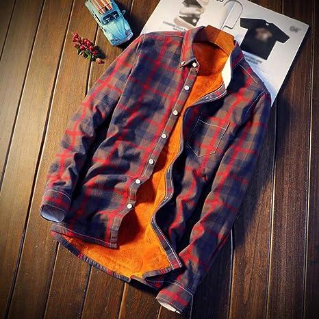 MDLJY Camisas Casual Otoño Invierno Primavera Gruesa Cálida Fleece Algodón Camisa de Manga Larga 5XL Camisa Hombre Plaid Franela Camisas: Amazon.es: Deportes y aire libre