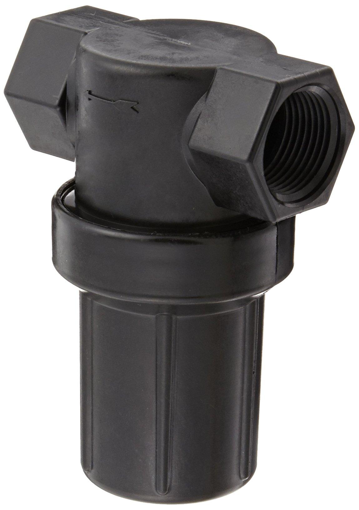 Banjo LSTM075-30 Polypropylene Mini T-Strainer with Black Bowl, 30 Mesh, 3/4'' NPT Female