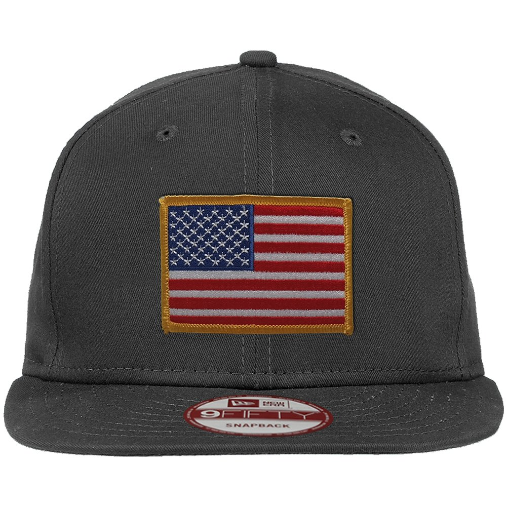New Era 9FIFTY American Flag Patch Flat Bill Snapback Charcoal Cap - Desert USA Patch at Amazon Mens Clothing store:
