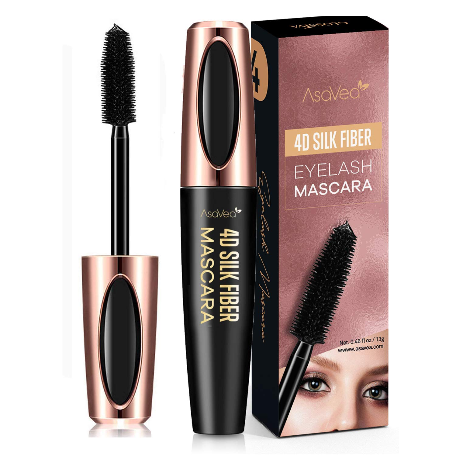 09f2308eed7 AsaVea 4D Silk Fiber Lash Mascara Waterproof, Luxuriously Longer, Thicker,  Voluminous Eyelashes,