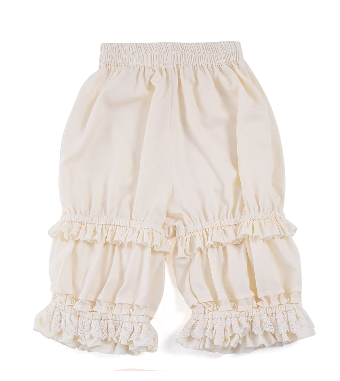 Women's Sweet Ruffle Lace Beige Lolita Bloomer Pantaloon - DeluxeAdultCostumes.com