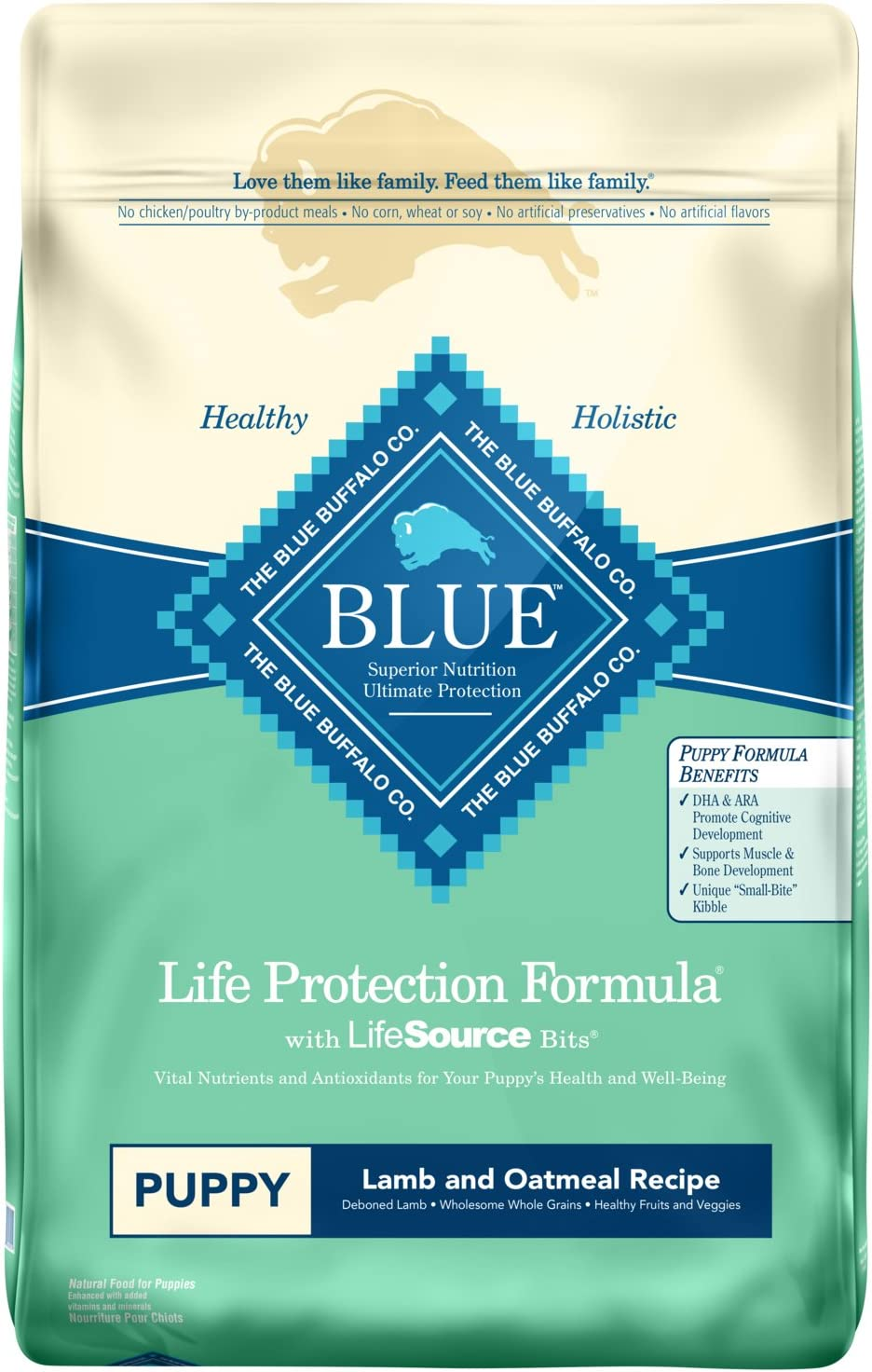 Blue Buffalo Life Protection Formula Natural Puppy Dry Dog Food, Lamb and Oatmeal 30-lb