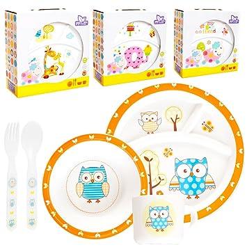 Niños Baby – Vajilla (5 piezas: 2 x, plato, taza, cubiertos) apta ...