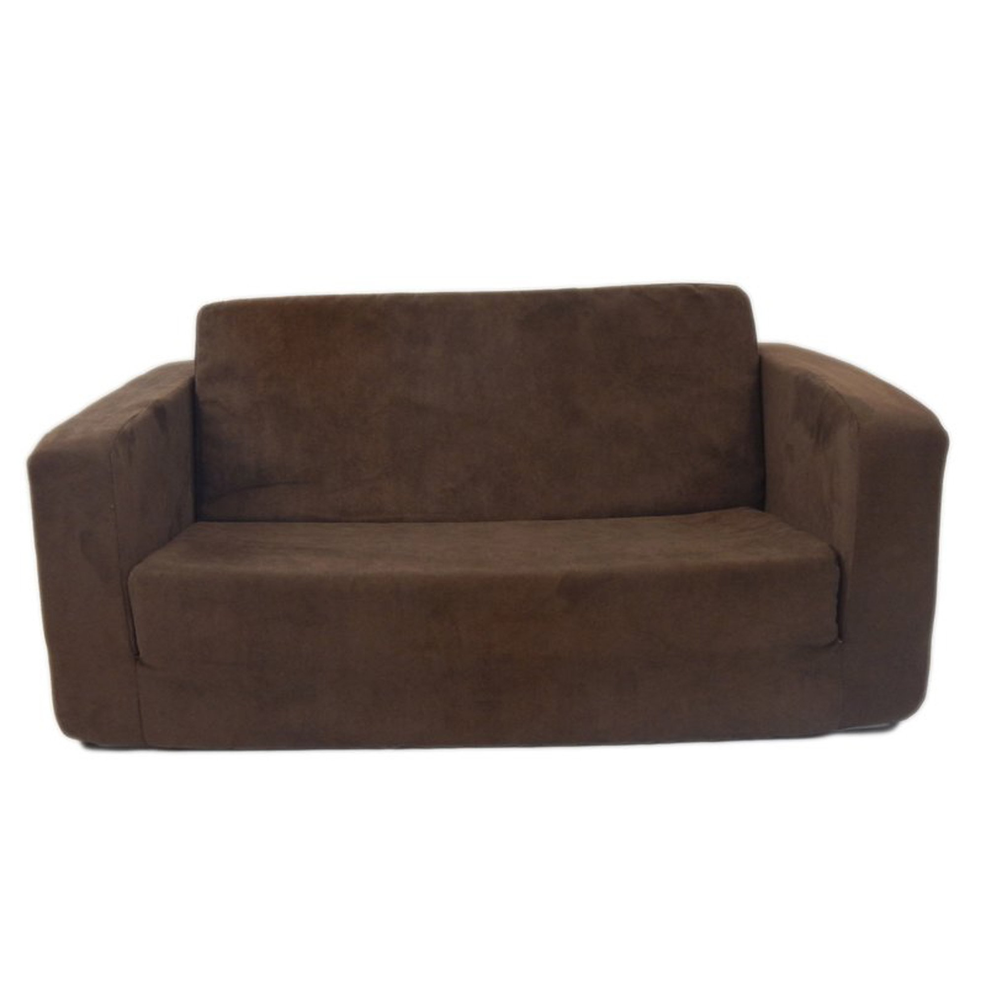 Flip Open Sofa For Kids - Convertible Children Soft Upholstered Futon Bed - Toddler Room - Boys and Girls Colors (Chocolate)