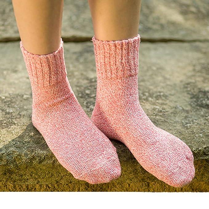 YSense Calcetines de lana, Mujeres Super Gruesa Suave Cómodo Calcetines de Invierno 5 Colores de la Mezcla: Amazon.es: Ropa y accesorios