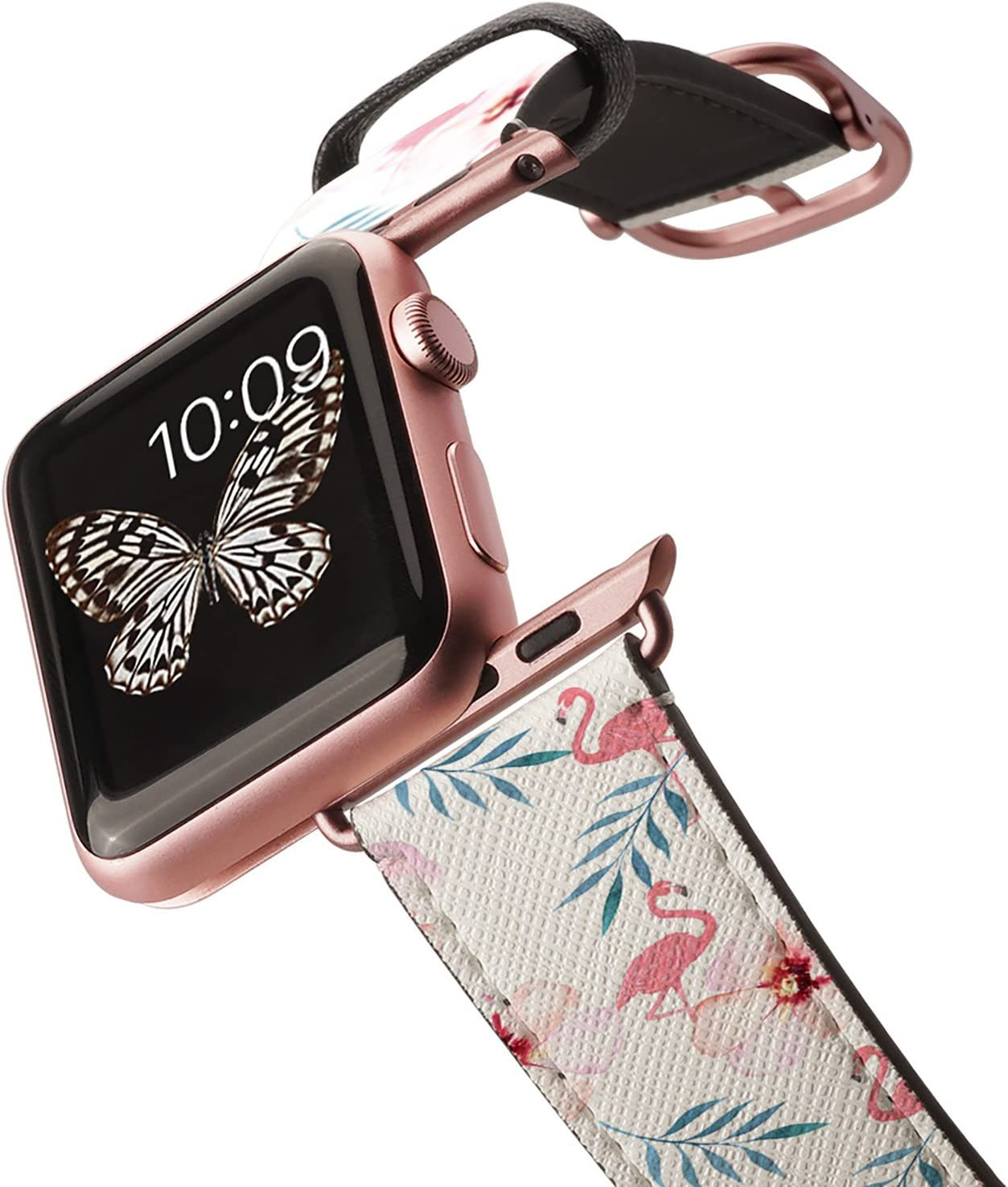 Casetify Floral Flower Bands for Apple Watch Bands 38mm 42mm with Rose Gold Stainless Steel Buckle Replacement Band for iWatch Apple Watch Series 4 Series 3 Series 2 Series 1 (Floral & Pink Flamingo)