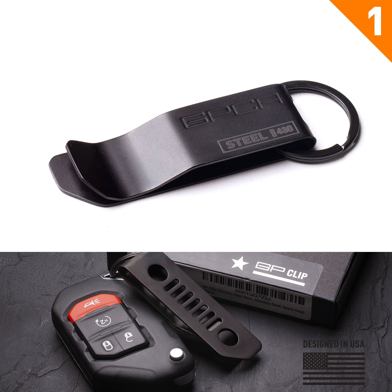 GP-Clip Stainless Steel Money Clip/Key Chain with Belt Clip (Stainless Steel, Jet Black)