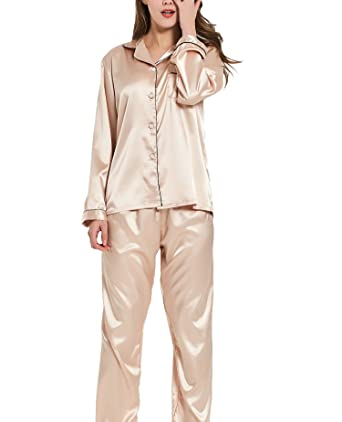 db2bf92f2d VlSl Womens Silk Satin Pajamas Set Two-Piece Long Sleeve Long Button-Down  Sleepwear
