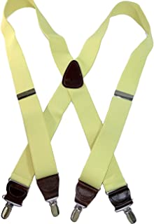 """product image for Hold-Ups Yellow 1 1/2"""" wide Hold-Up Suspenders X-Back Patented No-slip Silver Clips"""